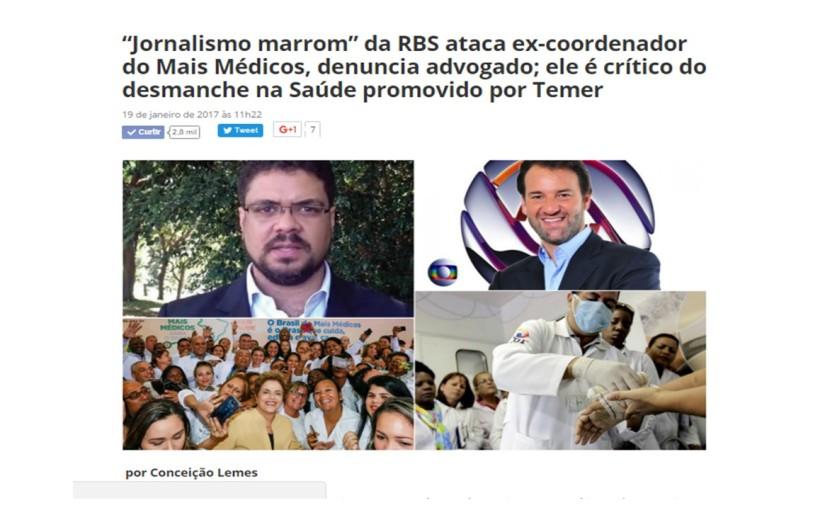 Jornalismo marrom ataca ex-coordenador do MaisMédicos