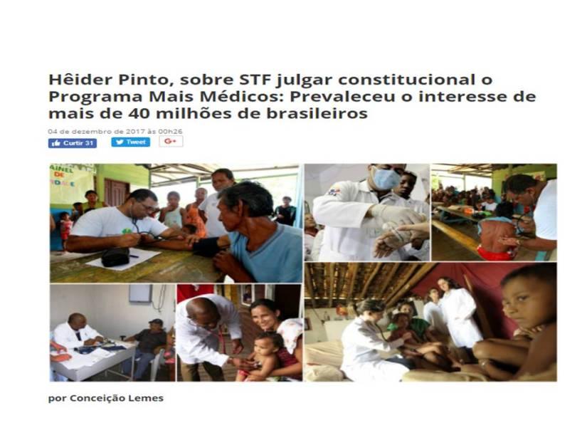 Hêider Pinto, sobre STF julgar constitucional o Programa Mais Médicos: Prevaleceu o interesse de mais de 40 milhões debrasileiros