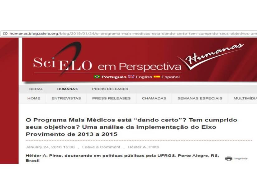 Scielo publica release do artigo que avalia Programa Mais Médicos (Provimento) de 2013 a2015