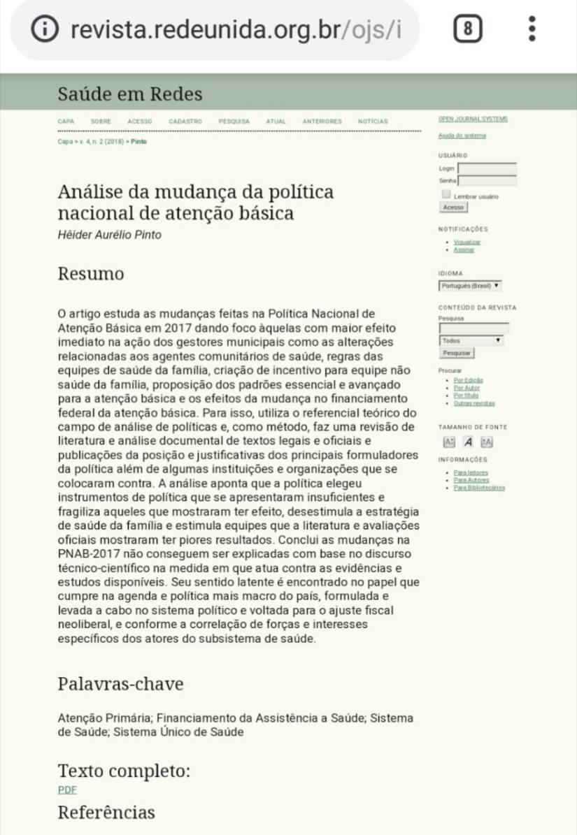 Artigo: ANÁLISE DA MUDANÇA DA POLÍTICA NACIONAL DE ATENÇÃOBÁSICA