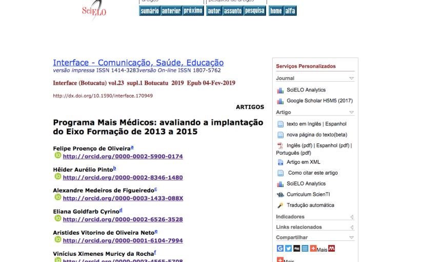Programa Mais Médicos: avaliando a implantação do Eixo Formação de 2013 a 2015. More Doctors Program: assessing educationaxis.