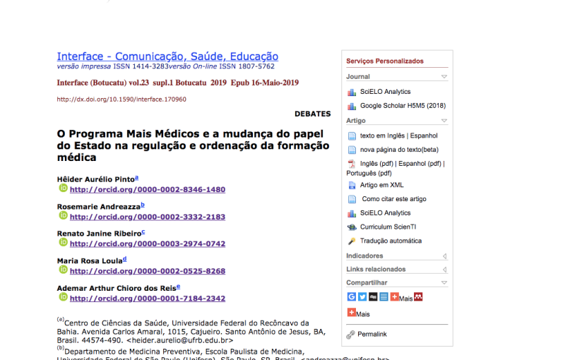 O Programa Mais Médicos e a mudança do papel do Estado na regulação e ordenação da formaçãomédica